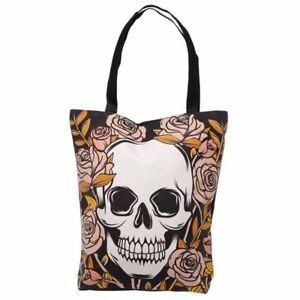 Skulls and Roses Cotton Tote Shopping Bag with Zip and Lining