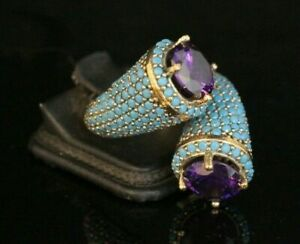 Estate Antique Vintage Turquoise & Amethyst Ring In 14k Yellow Gold Over