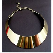 Hot Women's Gold Tone Curved Mirrored Metal Choker Collar Mottled Necklace