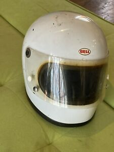 "Vintage Early 1970s Bell Star Helmet  / Rare "" Small Window "" Large 7 1/2 White"