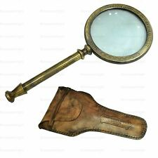 Brass Maritime MAGNIFYING GLASS With Leather Case Handmade Vintage Antique Gift
