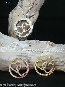 LARGE COIN/MONEDA. DOUBLE HEARTS FOR GENUINE STERLINA MI MILANO NECKLACE/LOCKET