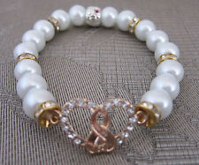 HEART PEARL&CRYSTALS BEADS STRETCH LADIES BRACELET NEW