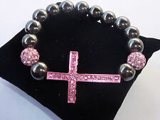 SHAMBALLA HEMATITE SIDEWAY CROSS BRACELET HOT PINK TRENDY FASHION LOVE HIP HOP