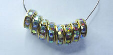 Rhinestone Rondelle Spacer Beads. Gold & Clear AB . 10mm. Approx. 100 Pieces