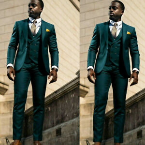 Green Business Mens Prom Suits Groomsman Groom Groom Formal Tuxedos Blazer Work