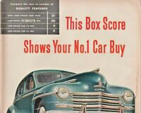 1947 Plymouth Automobile Vintage Print Ad This Box Score Shows Your No.1 Car Buy