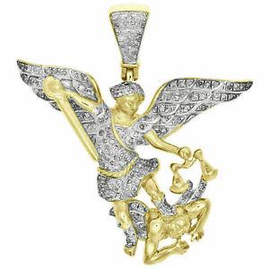 Diamond Saint Michael Pendant Mens Pave Charm Yellow Gold Over