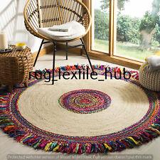 Rug Natural Jute & Cotton Handmade Round Decor Living Rug Reversible Braided Mat
