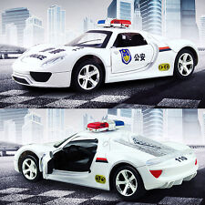 Police Model Car 1:16 Sound Light Metal Diecast Model Car Pull Back Vehicle Toy