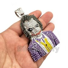 HIP HOP ICED OUT LAB DIAMOND WHITE GOLD PLATED JOKER LARGE BLING PENDANT