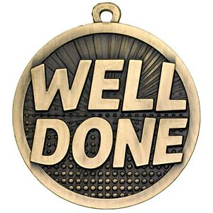 50mm WELL DONE Medal with FREE Engraving Ribbon & UK pp school sport achievement