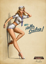 Pin Up Girl Hello Sailor Poster 13x19 inches
