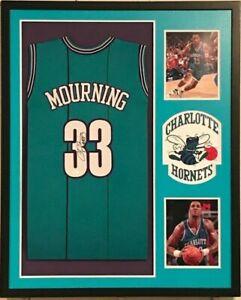 Framed Charlotte Hornets Alonzo Mourning Signed Hornets Teal Jersey JSA Authe...