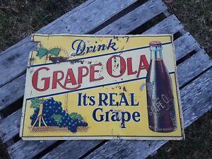 Vintage Drink Grape Ola Soda Sign, Embossed Pop Sign, Soda Sign