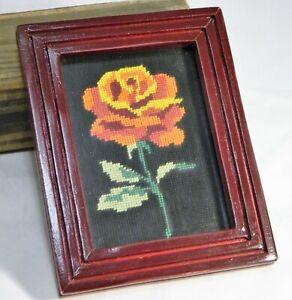 "Wall Art Needlework Red Rose On Black Wood Frame 8""X6"" Vintage"