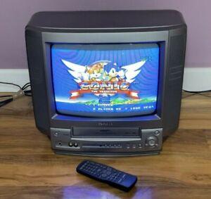 "Aiwa 14"" inch CRT Cube TV (Built in VCR), VX-G143K Retro Gaming Display, Grey"