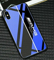 AMG Mercedes iPhone Case Blue Tempered Glass Mix Carbon Fiber 7,8+,X,XR,XS,11Pro