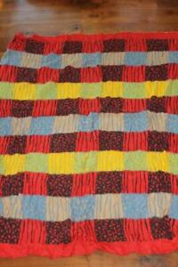 "RARE VINTAGE COLORFUL DUTCH 1950'S WOOL PRINTED BLANKET 80"" X 58"" INCHES"