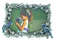 Lovebirds Picture Frame 188MB Austrian Crystals Enameled Fancy Backing Birds