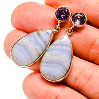 "Blue Lace Agate, Amethyst 925 Sterling Silver Earrings 1 1/2"" Jewelry E411586F"