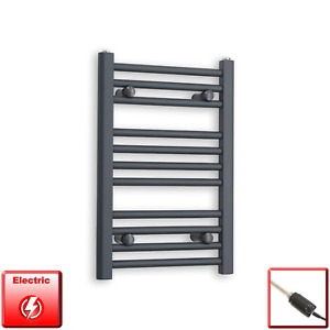 400mm Wide 600mm High Flat Anthracite Pre-Filled Electric Towel Rail Radiator