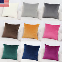 2 Soft Velvet Solid MultiColor Throw PILLOW COVER Sofa Couch Cushion Case 18x18""
