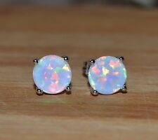 Colourful 925 Silver Plated Tropical White Fire Opal 7mm Stud Earrings