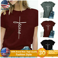 Women Fashion Cross Faith T Shirt Graphic Tees Christian Jesus Loose Sports Tops