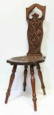 Vintage Antique Oak Hand Carved Wooden 4 Legged Spinning Chair Stool - 254
