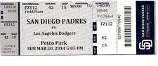 2014 SAN DIEGO PADRES VS LA DODGERS TICKET STUB OPENING DAY 3/30/14
