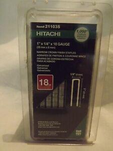 """Hitachi 1"""" x 1/4"""" x 18 GA Narrow Crown Finish Staples, Qty 1000"""