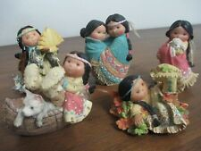 "Five ""Friends of the Feather"" feathered Indian figurines Karen Hahn for Enesco"