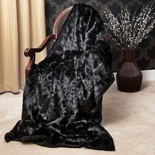 Plush Mink Faux Fur Oversize Throw Blanket 58x60 Luxurious Throw Comfy Bed Sofa