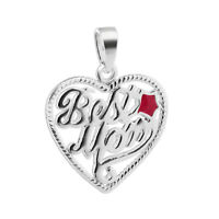 925 Sterling Silver Hot Pink Enamel Best Mom Heart with Star Pendant #MRPS007