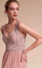 Anthropologie BHLDN Iris Sterling Gown Maxi Dress Wedding Size 4 $250.00