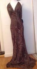 NWT Carmen Marc Valvo Brown Beaded Dress Gown US Sz 12