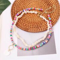 Bohemian Handmade Polymer Clay Stone Beads Necklace Round Pendant Choker Jewelry