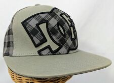 DC Shoes Ball Cap Gray Tan Skate style Solid and Plaid S / M Flexfit