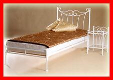 Handgearbeitet Metallbett Kornelia 90x200 mit niedrigem Fußteil+Lattenrost! Weiß