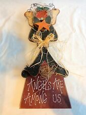"""ANGELS ARE AMONG US Wall Plaque 19"""" Angel Bird Birdhouse Wood Wire"""
