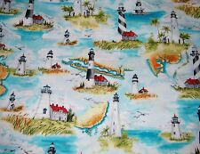 BTY Windham HIGH TIDE Lighthouses Print 100% Cotton Quilt Craft Fabric YARD