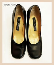 Authentic Women's Sergio Rossi Vintage Leather Shoes Black Pump Italy Eu38,5