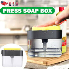 2in1 Kitchen Liquid Soap Dish Pump Dispenser Sponge Holder Press Countertop Rack