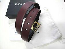 PRADA Men Reversible SAFFIANO Leather Belt Burgundy Black 42 Made in ITALY New