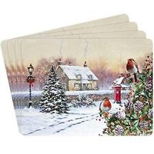 Set Of 4 Placemats & 4 Coasters Christmas Robin Scene Dining Boxed by Leonardo