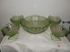 VINTAGE ART DECO GREEN GLASS X1 LARGE BOWL DISH X4 SMALL DESSERT BOWLS DISHES