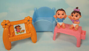 DORA Talking House TWINS NURSERY set ~ boy girl, easel, changing table, baby bed