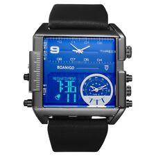 3 Time Zone Watches Mens Sport Big Leather Rectangle Quartz & Digital Wristwatch