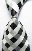 New Classic Checks White Black Grey JACQUARD WOVEN 100% Silk Men's Tie Necktie